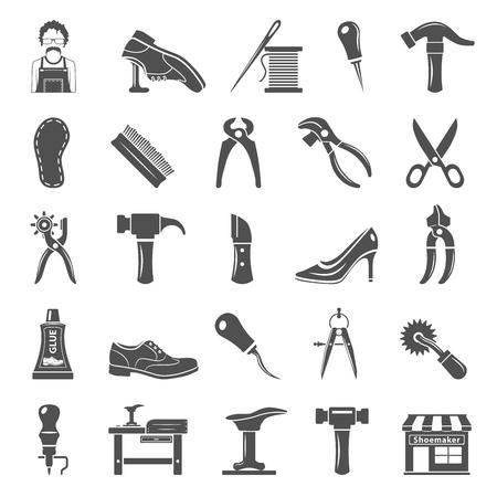 Shoemaker tools and equipment black icons illustration. Ilustracja