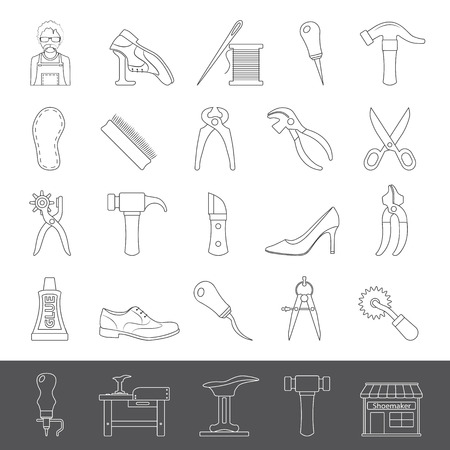 Shoemaker tools and equipment outline icons