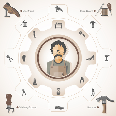 Shoemaker tools and equipment Ilustracja