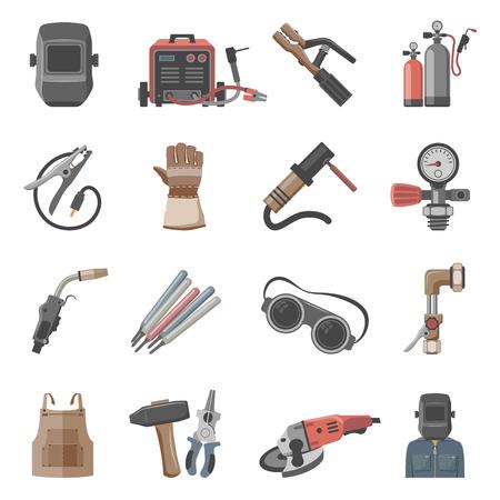 Welding equipment icon set Vectores
