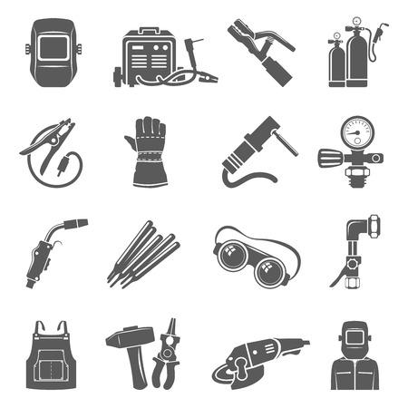 Welding equipment black icon set. 일러스트
