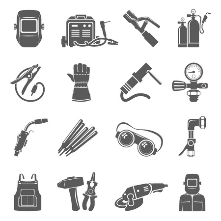 Welding equipment black icon set. Illusztráció