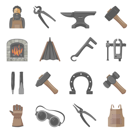 Blacksmith tools and equipment icon set