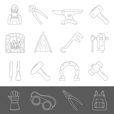 Blacksmith tools and equipment outline icons