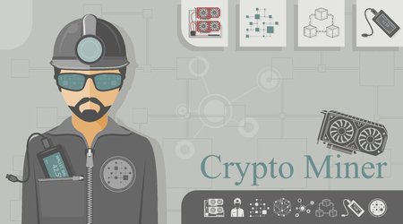 Cryptocurrency miner with blockchain icons