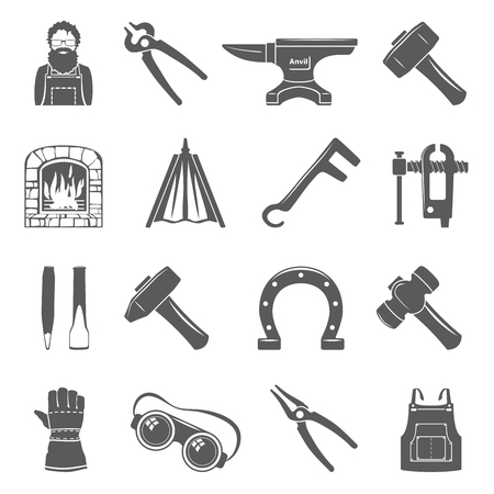 Black Icons - Blacksmith Tools And Equipment