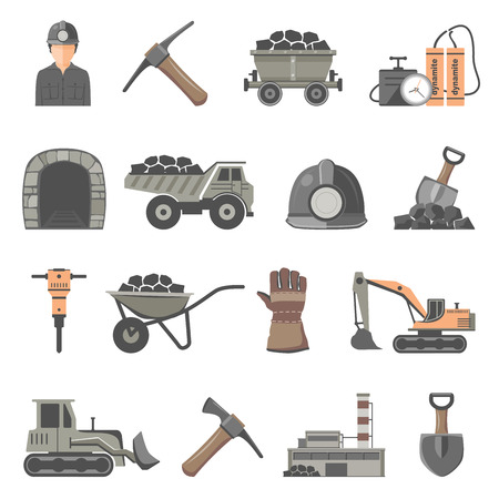 Mining Icon Set isolated on white background Illustration