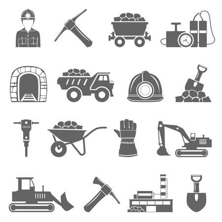 Icone di estrazione mineraria nere Vettoriali