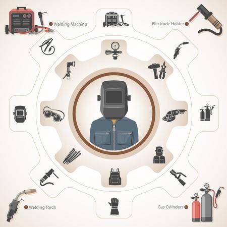 Welder with welding equipment Stock Illustratie