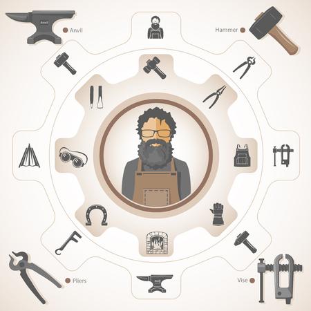 Blacksmith with forging tools