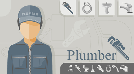 Plumber with related icons