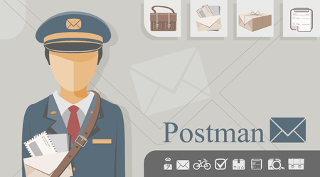 Mail carrier with related icons