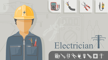 Electrician with related icons Vector illustration. Çizim