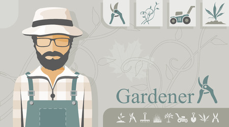 Gardener with related icons Stock Illustratie