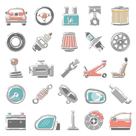 Iconos de colores de contorno - Piezas de automóviles