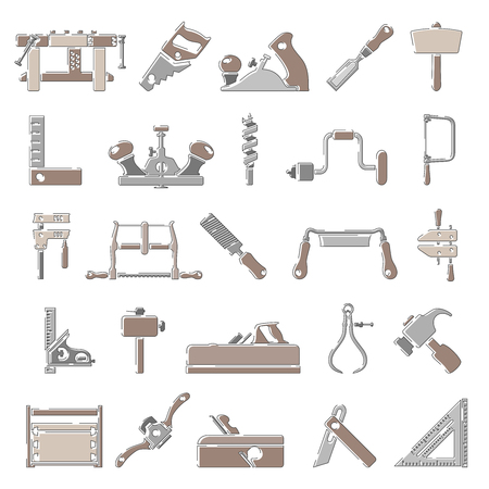 Outline Color Icons - Traditional Woodworking Tools Illustration