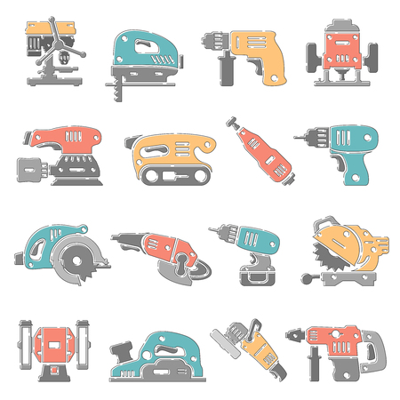 Outline Color Icons - Power Tools Illustration