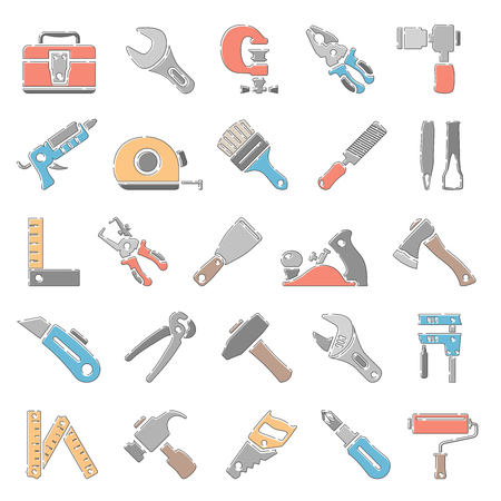 Outline Color Icons - Hand Tools Illustration