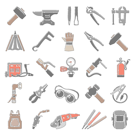 Outline Color Icons - Forging And Welding Equipment