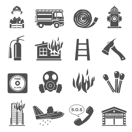 Black Icons - Firefighting Banque d'images - 104624894