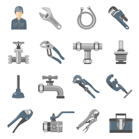 Plumbing Tools and Equipment Icon Set