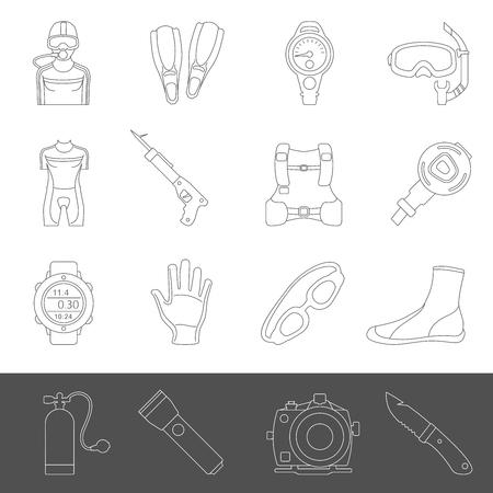 Line Icons - Scuba Diving Equipment Vettoriali