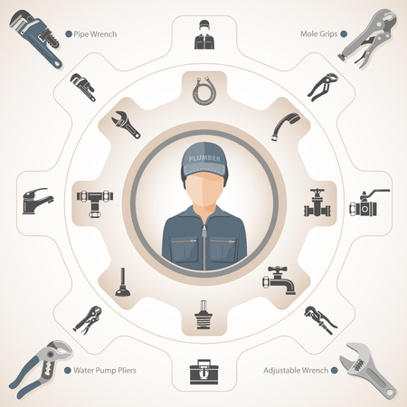 Plumbing Tools and Equipment Vectores