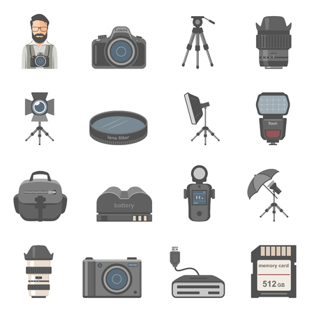 Photography Equipment Icons 스톡 콘텐츠 - 120866512
