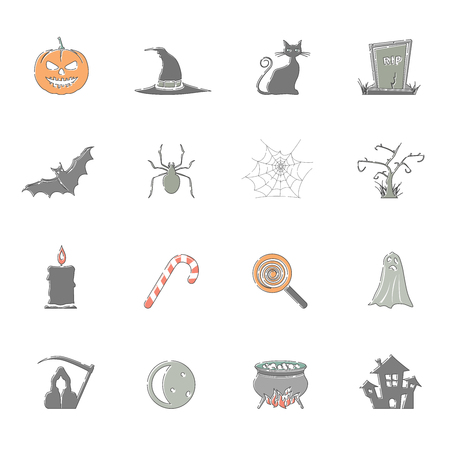 Outline Color Icons - Halloween Illustration