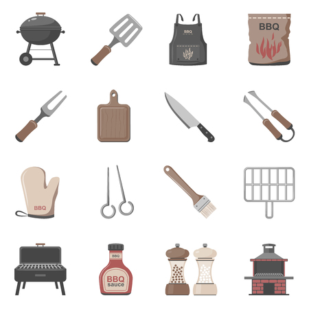 Barbecue Tools & Accessories Icon Set