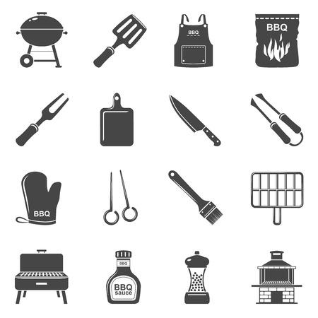 Iconos negros - Herramientas y accesorios para barbacoa Ilustración de vector