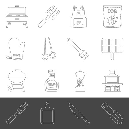 Line Icons - Barbecue Tools & Accessories
