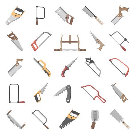 Twenty-five different types of hand saws