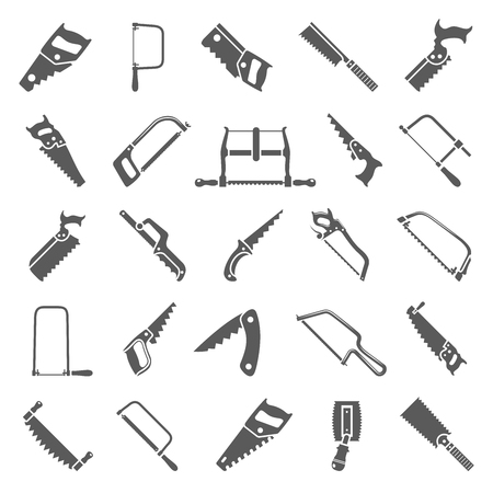 Black icons - Twenty-five different types of hand saws Stock Illustratie