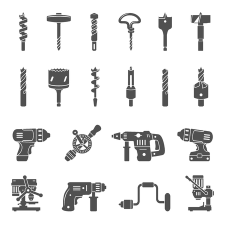 Black Icons - Different types of drills and drill bits 矢量图像