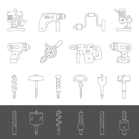 Line Icons - Different types of drills and drill bits Illustration