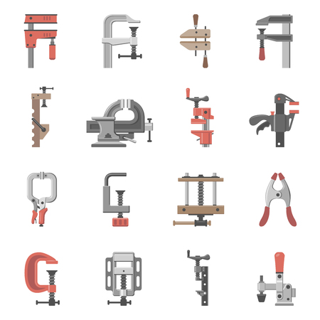 Sixteen different types of clamps and vises Imagens - 120866773