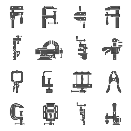 Black icons - Sixteen different types of clamps and vises