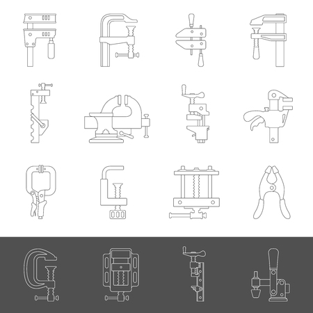 Line icons - Sixteen different types of clamps and vises Imagens - 120866780
