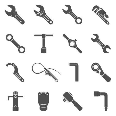 Black Icons - Sechzehn verschiedene Arten von Schraubenschlüsseln Vektorgrafik