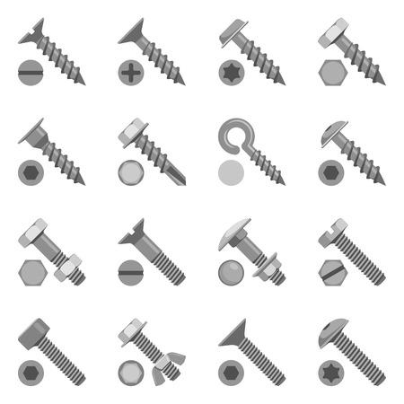 Verschiedene Arten von Schrauben und Bolzen Vektorgrafik
