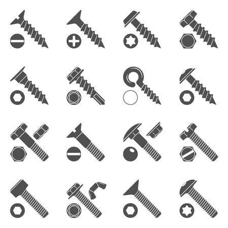 Iconos negros - tornillos y pernos