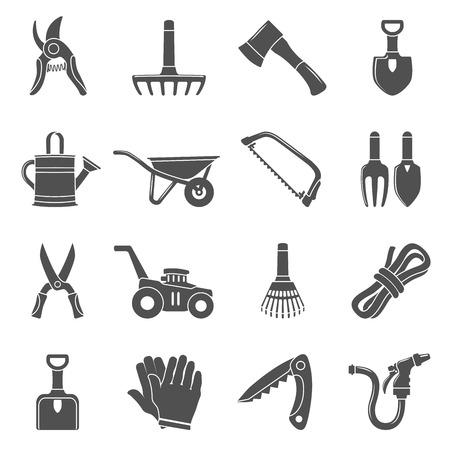 Black Icons - Garden Tools Stock Illustratie