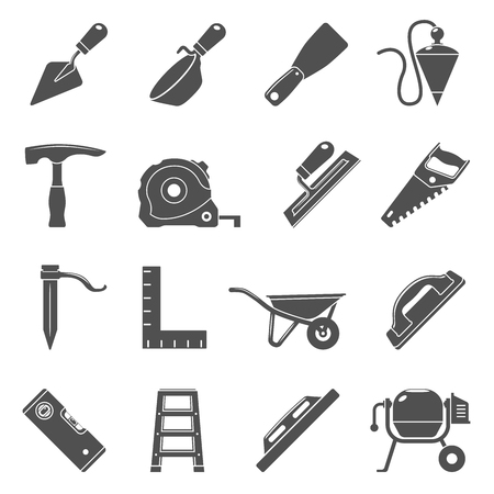 Black Icons - Masonry Tools Illustration