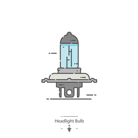 Headlight bulb - Line color icon Çizim