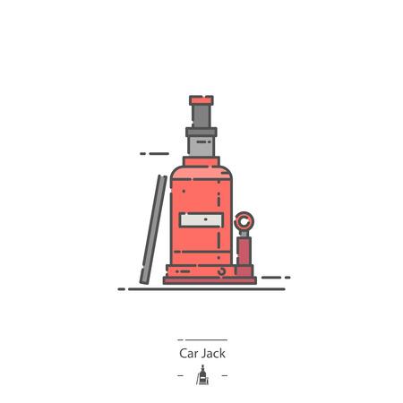 Hydraulic car jack - Line color icon