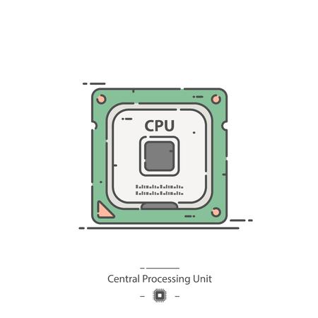 Central processing unit - Line color icon Illustration