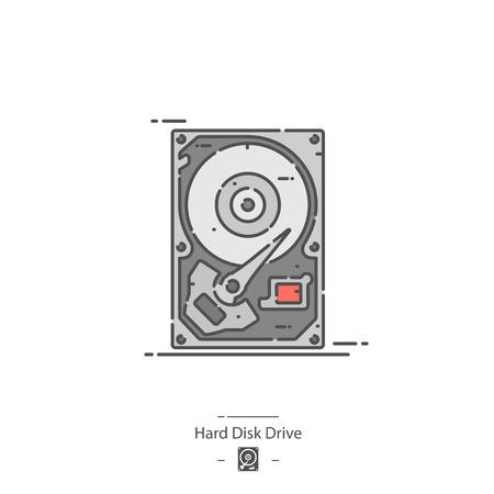 Disque dur - Icône de couleur de ligne Vecteurs