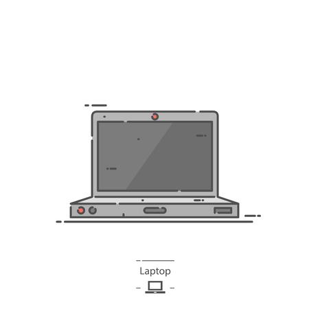 Laptop - Line color icon Illustration