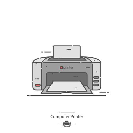 Computer printer - Line color icon